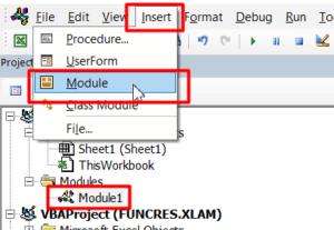 VBA 편집창에서 새로운 모듈을 추가해줍니다.