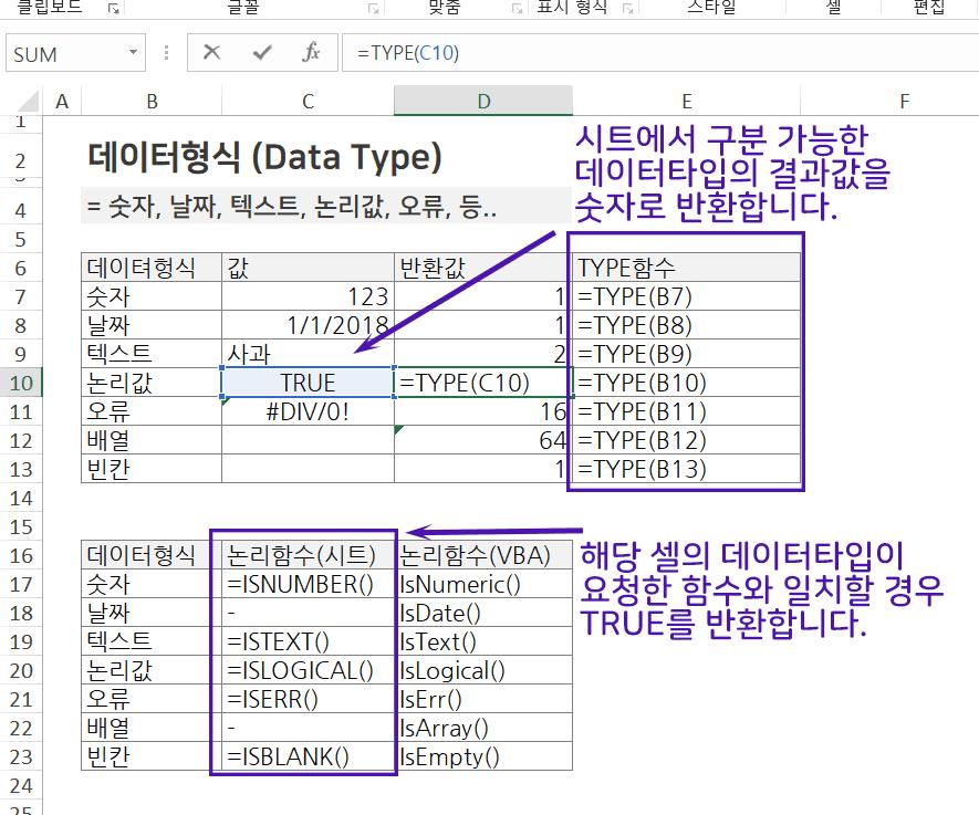엑셀 데이터타입 예제 PNG