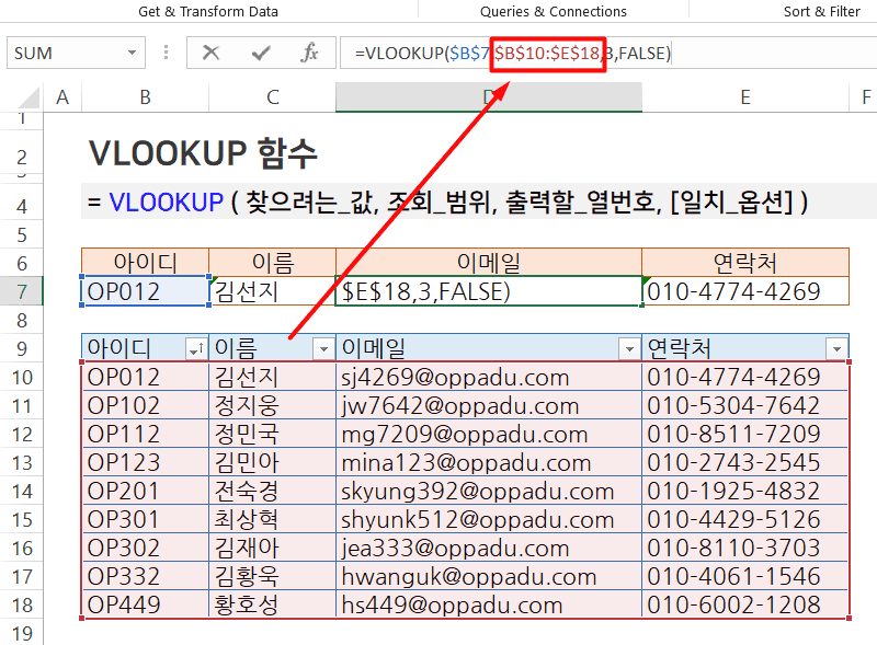 VLOOKUP 함수 절대참조