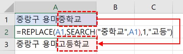 SEARCH 함수 문자열 변경