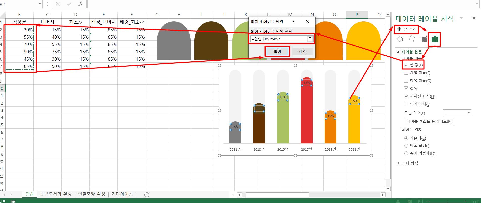 차트 레이블 값 설정