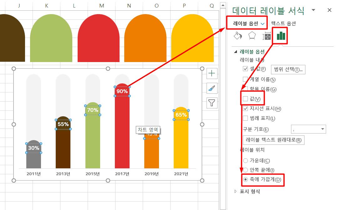 차트 레이블 셀값 지우기