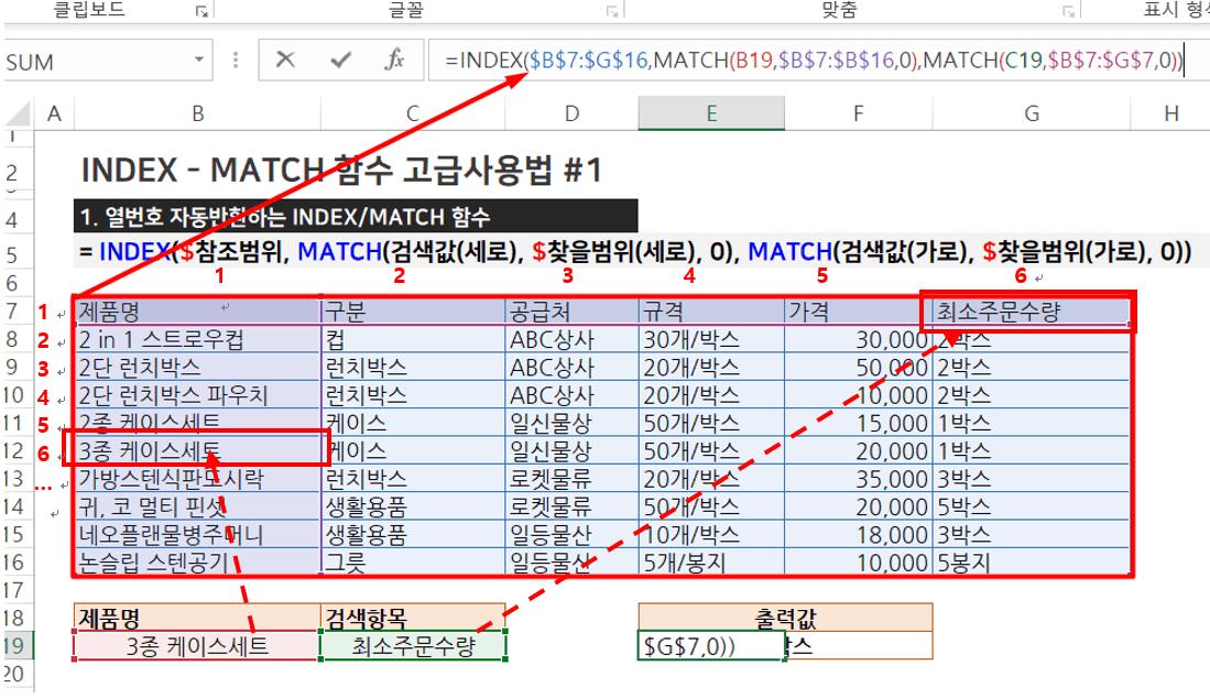 INDEX MATCH 함수 고급사용법 열 번호 자동 반환