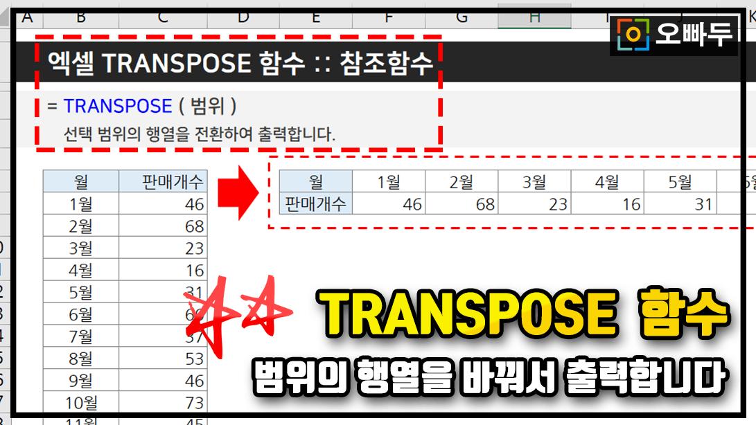 엑셀 TRANSPOSE 함수 사용법 PNG