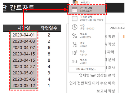 엑셀 간트차트 날짜 형식 변경