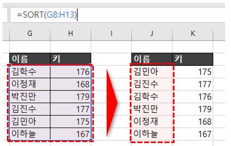 엑셀 sort 함수 추가기능 기본