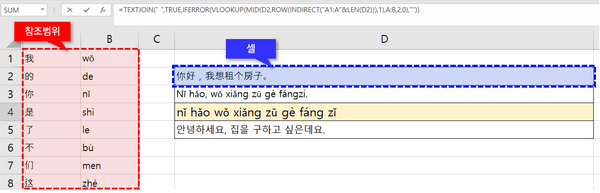 엑셀 중국어 병음 변환 공식 인수