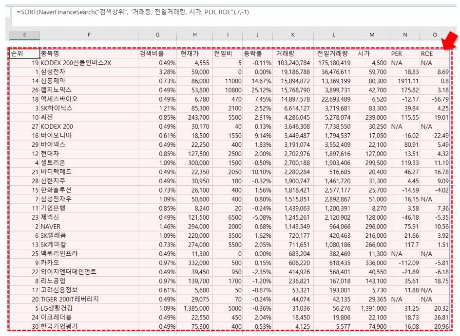 엑셀 NaverFinanceSearch 함수 검색상위 조회