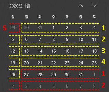 엑셀 매월 1일 기준 월 주차 계산