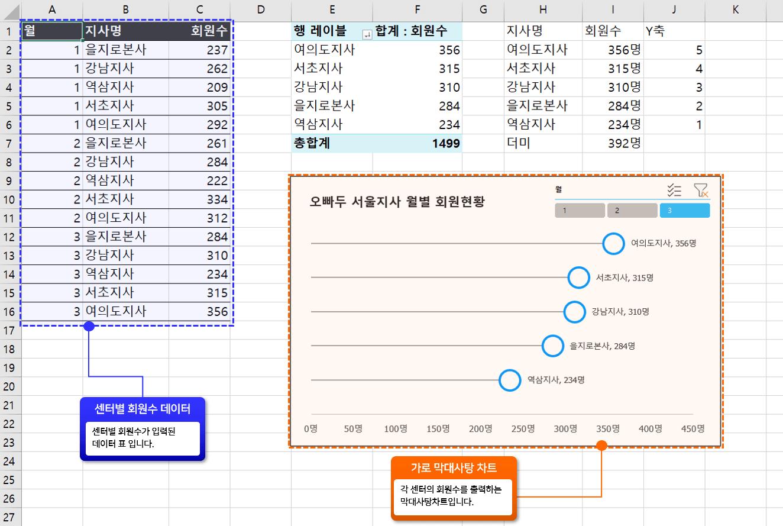 회원현황 막대사탕 차트 구성