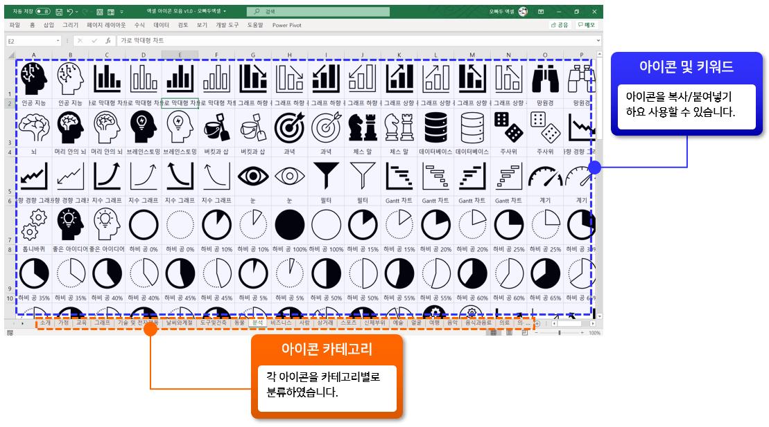 엑셀 아이콘 모음 서식 구성