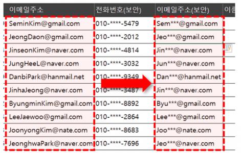 엑셀 이메일 주소 숨기기