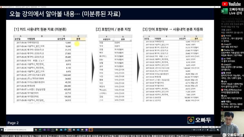 엑셀 LIVE 23강 카드 사용내역 자동화 분류 공식_R