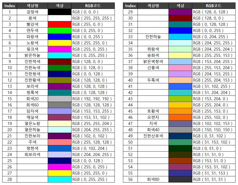 VBA 색상표 색상 목록