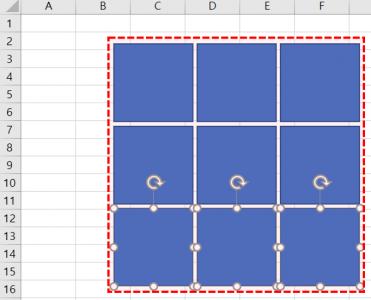 엑셀 퍼즐 도형 삽입 완료