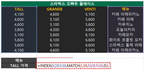 엑셀 INDEX MATCH 함수 완성