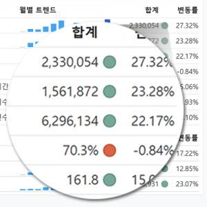 주요 지표 변동율 확인