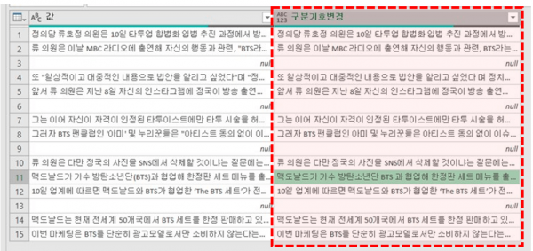 엑셀 텍스트 마이닝 구분기호 변경 완료